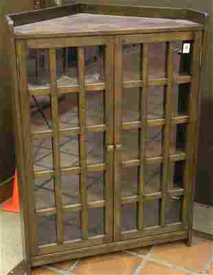 Arts & Crafts style corner cabinet