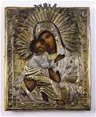 Russian silver mixed metal oklad clad icon of the
