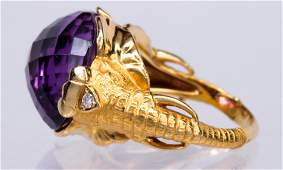 Amethyst, diamond, 18k yellow gold elephant ring