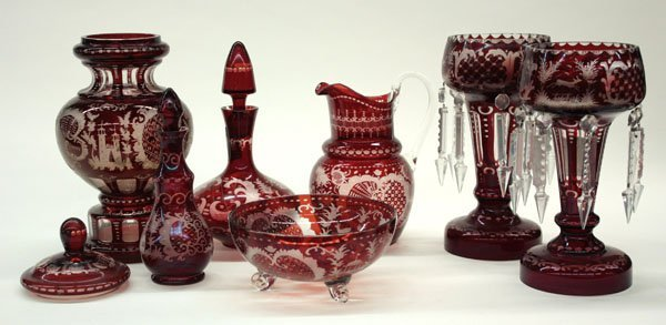 11: Bohemian style etched ruby glass