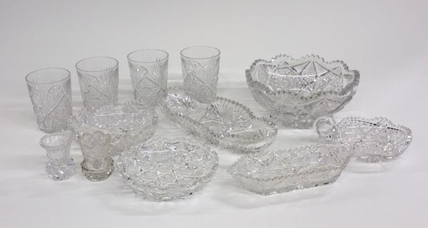 12: cut crystal and glass bowls tumblers