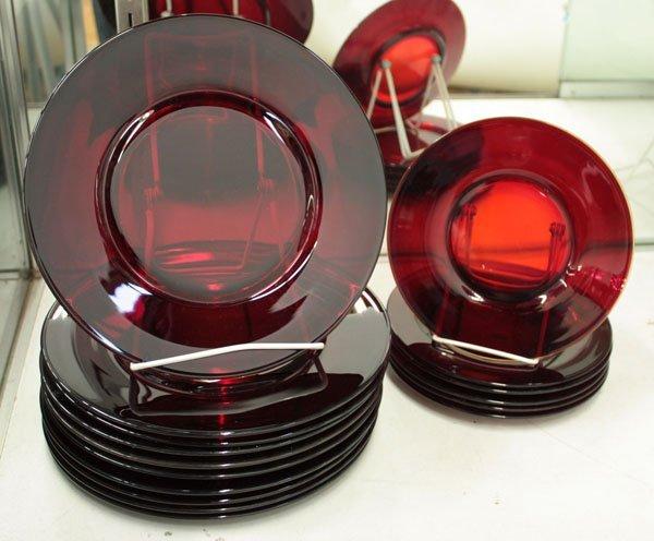 14: Vintage ruby glass plates