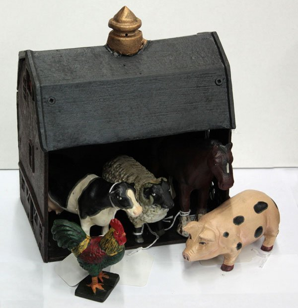 18: Painted cast iron barn animals