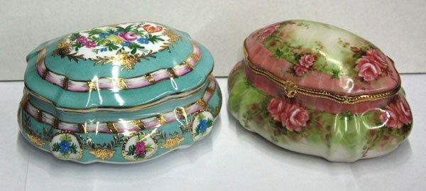 22: gilt enameled porcelain boxes