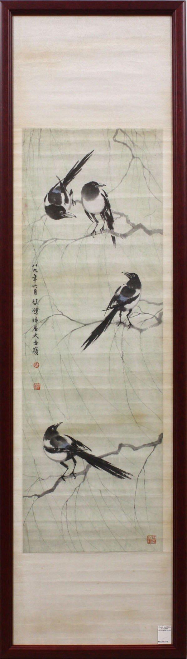 136: Chinese painting, Xu Beihong, Magpies