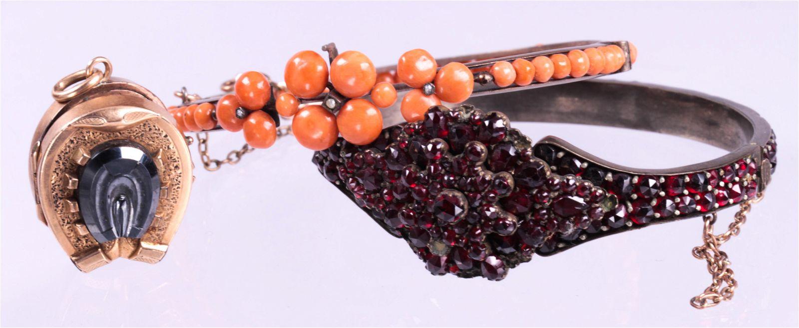(Lot o f 3) Victorian coral, garnet and hematite