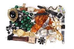 Collection of metal watches and stone beads