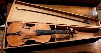 Violin and bow with ebonized wood carrying case, violin