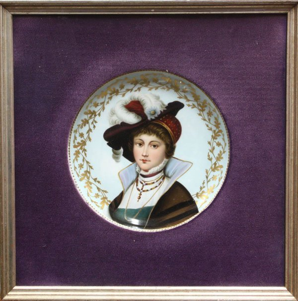 6000: Framed painted porcelain plate
