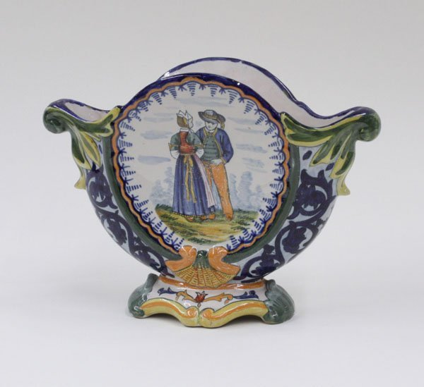 6013: Quimper faience moon flask style vase