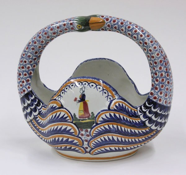 6016: Quimper faience swan neck basket