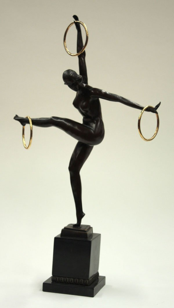 4017: Bronze Art Deco style sculpture dancer