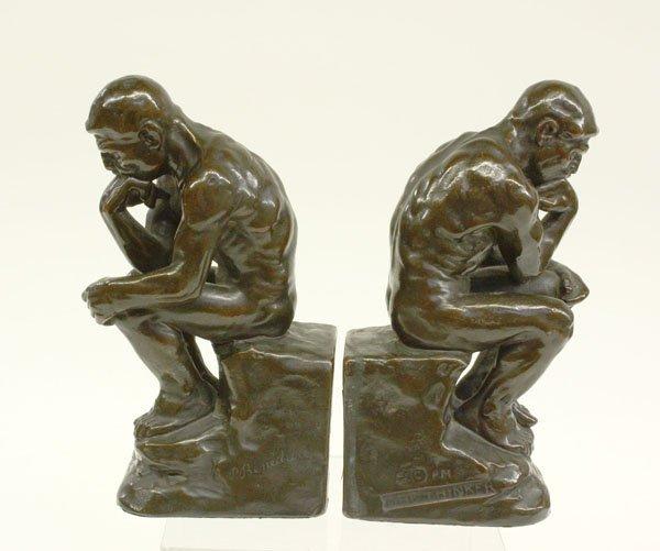 4020: Galvano bronze bookends ''The Thinker''