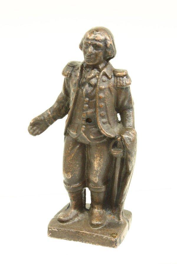 4022: Patinated metal bank George Washington