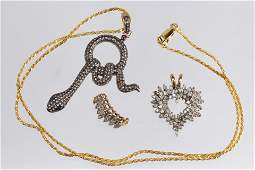 Collection of diamond, gold, silver gilt jewelry