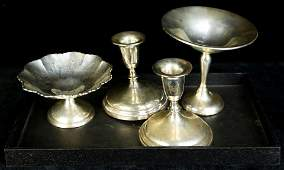 (lot of 4) Sterling table articles, mainly weighted