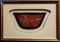 lot of 3 Chinese red silk embroidered panels mounted
