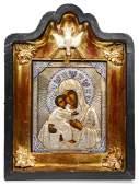 A Russian cloisonne enamel 84 silver icon