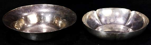 A lot of (2) Modernist hand wrought sterling bowls