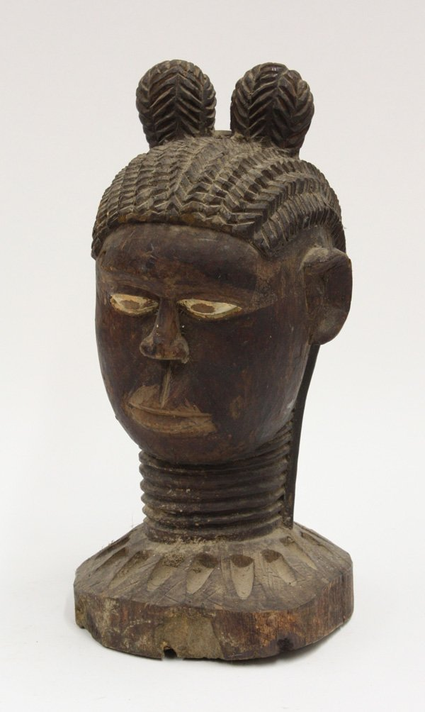 6001: Carved wooden bowl bust West Africa