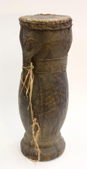 6012: Wood carved drum, West Africa