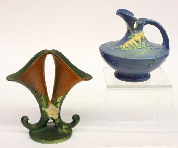 4019: Roseville art pottery ''Freesia'' ewer