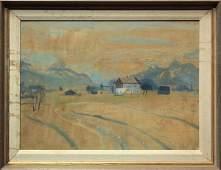 Watercolor, attrib. Morris, landscape