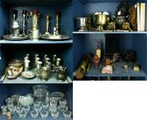 Five shelves of associated decoratives including boxes