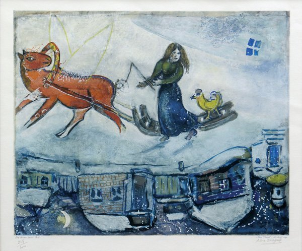 2235: Collotype Le Cheval Rouge Marc Chagall