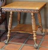 2596: Victorian quartersawn oak lamp table