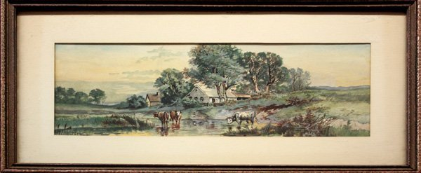 1: watercolor, Cows in a Stream, WT Walter