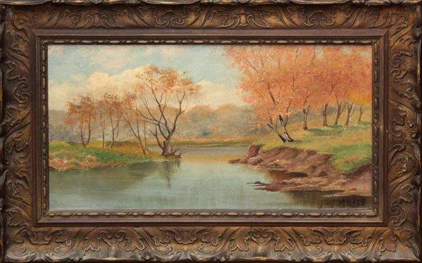 4: painting, Walker, Riverfront Landscape
