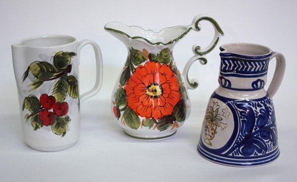10: Italian Spanish pottery pitchers