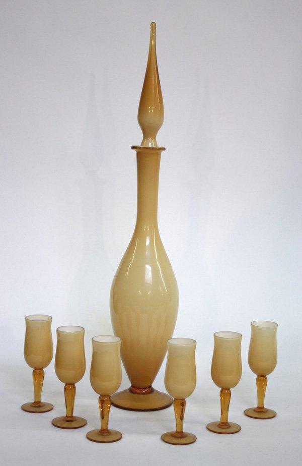 15: Vintage art glass decanter cordials
