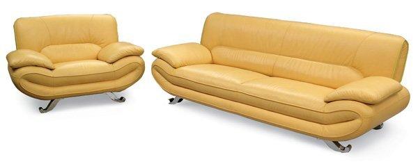 363: Modern Yellow Leather Sofa/Chair Set