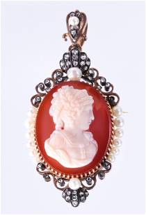 A Victorian agate cameo, diamond, and silver-topped