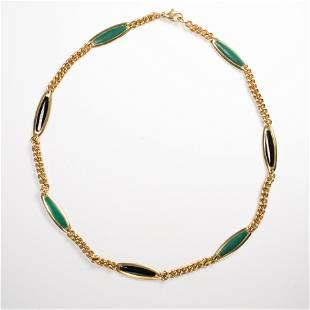 A malachite, onyx and eighteen karat gold chain