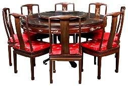 lot of 9 Chinese mop rosewood pedestal table and 8