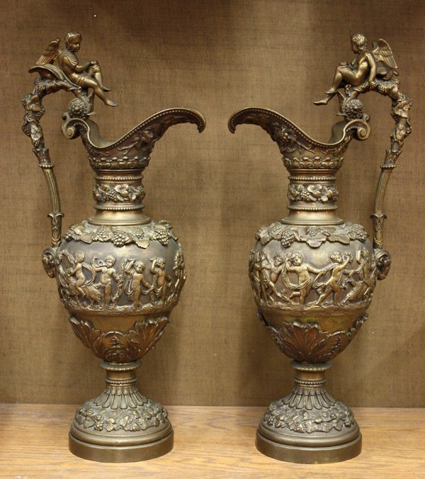 6021: neoclassical style bronze ewers