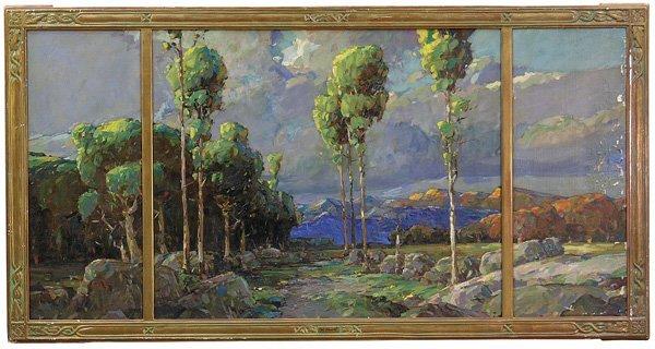 6180: Painting Triptych Poplars Karl Schmidt