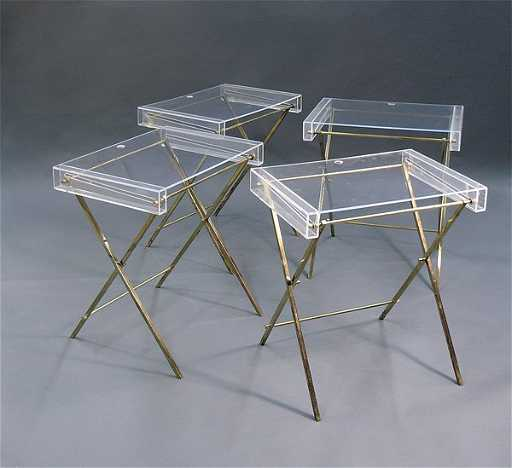 7062 lucite brass tv trays merv griffin for Perspex canape trays