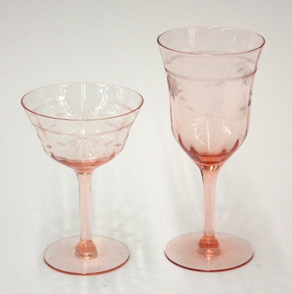 4010 vintage crystal stemware in pink
