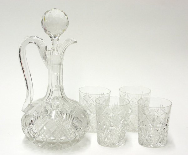 4011: Brilliant cut glass stoppered jug, tumblers