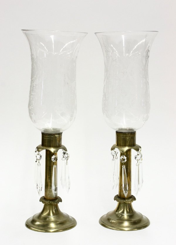 4014: vintage brass candle holders, crystal shades