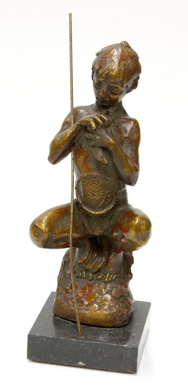 4018: Painated spelter sculpture of boy, Morell
