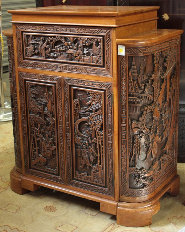 4121: Chinese Carved Wood Liquor Cabinet