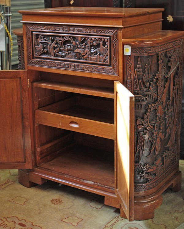 4121: Chinese Carved Wood Liquor Cabinet - 2