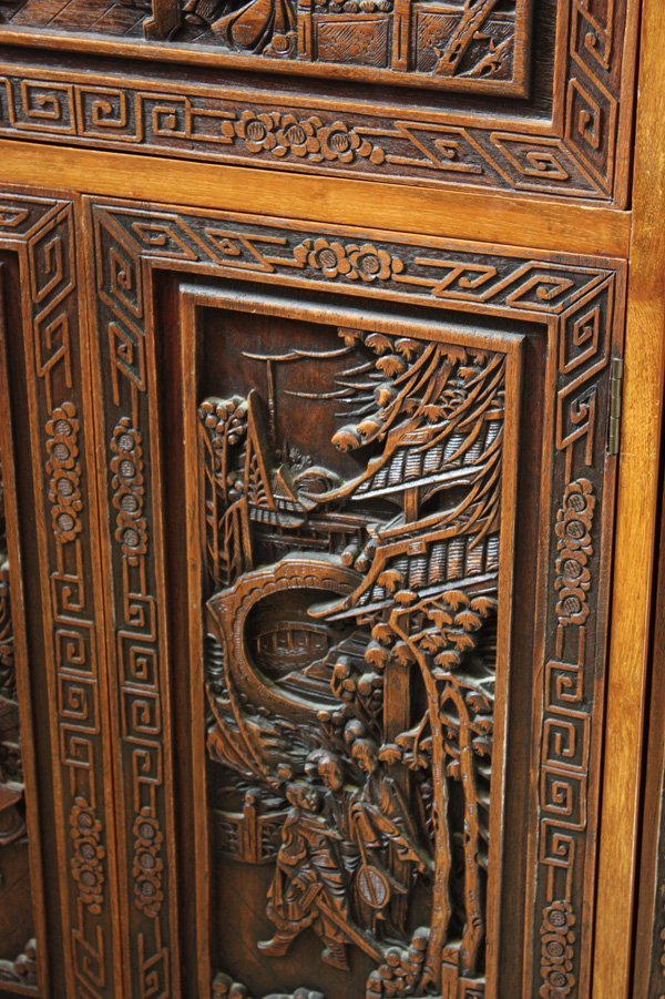 4121: Chinese Carved Wood Liquor Cabinet - 3