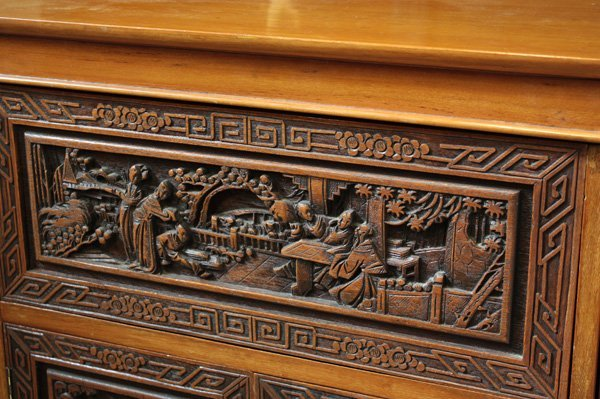 4121: Chinese Carved Wood Liquor Cabinet - 4