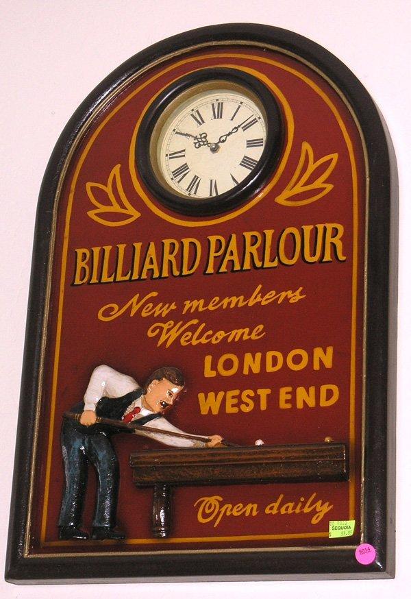 9014: Billiard clock and cigar and golf advertising sig